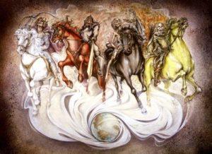 四色の四頭の馬は世界に配置される霊